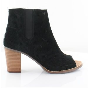 TOMS Black Woman's Peep Toe Booties.